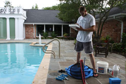Pool being serviced